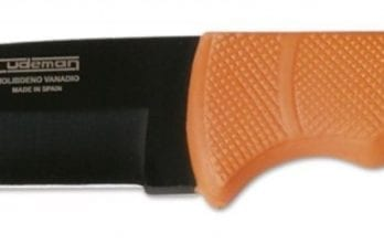 Cudeman – 147-W Hunting Knife Orange Rubber Handle Black Blade