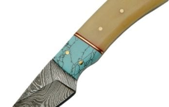 Damascus – Fixed Blade Turquoise and Bone Skinner