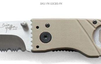 Hoffner 3.5 Flatline Khaki Grips | Silver Combo blade (FK-S3CBS-FK)